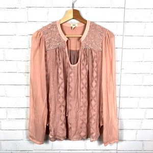 Anthropologie Tiny Embroidered Boho Peasant Blouse